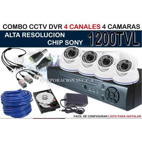 Kit Combo Camaras Seguridad Dvr 4ch 4 Cam disco de 320 gb