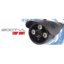 Camara de Seguridad Bullet 1200 tvl IR 3 Leds Arrays Gris Metalica